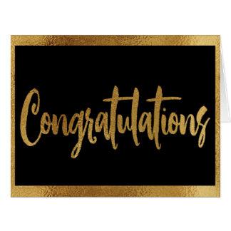 Cartão Parabéns elegantes elegantes do ouro do preto & do