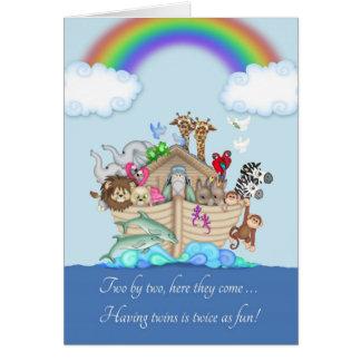 Cartão Parabéns em esperar gêmeos - a arca de Noah