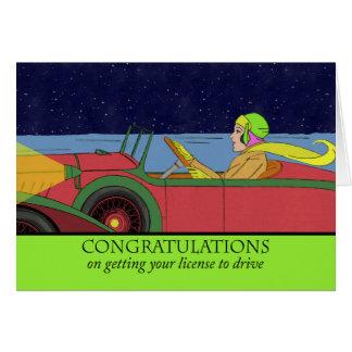Cartão Parabéns em obter sua licença conduzir