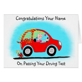 Cartão Parabéns em passar o teste de condução