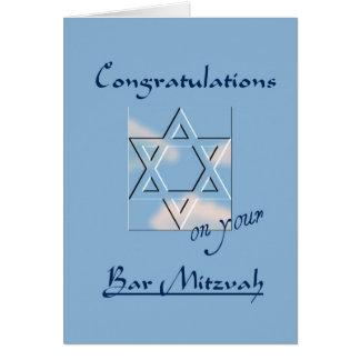 Cartão Parabéns em seu bar Mitzvah! - Azul