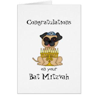 Cartão Parabéns em seu cão do Mitzvah-Pug do bastão