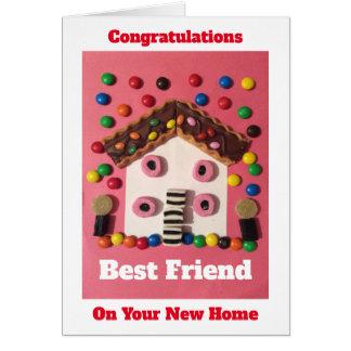 Cartão Parabéns em seu melhor amigo home novo