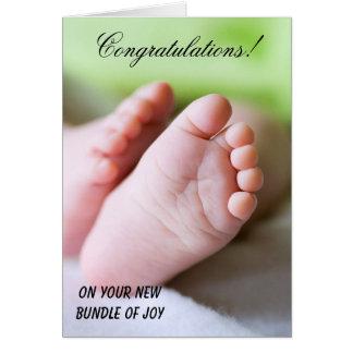 Cartão Parabéns em seu pacote novo de alegria