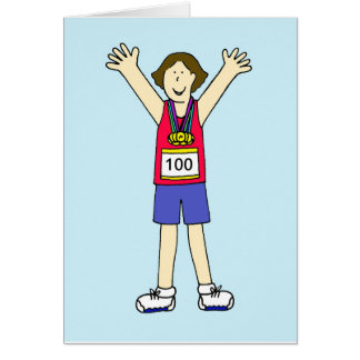 Cartão Parabéns em sua 100th maratona para uma senhora