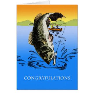 Cartão Parabéns em sua captura grande, pesca do vintage