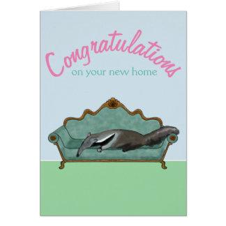 Cartão Parabéns em sua casa nova -- Anteater bonito
