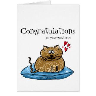Cartão Parabéns em sua ilustração do gato da boa notícia