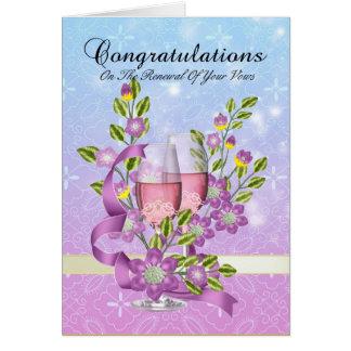 Cartão parabéns em sua renovação do voto com flores