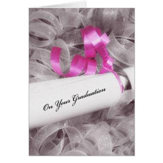 Cartão Parabéns femininos da graduação com fita