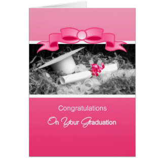 Cartão Parabéns femininos Riboon cor-de-rosa da graduação