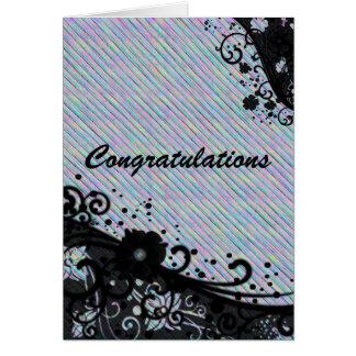 Cartão Parabéns florais do rolo & da textura