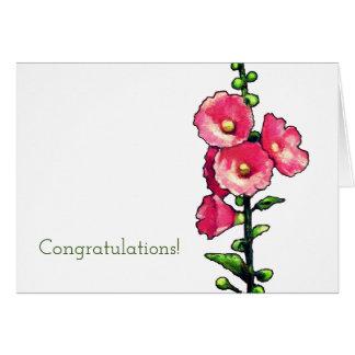 Cartão Parabéns, flores cor-de-rosa do Hollyhock, arte