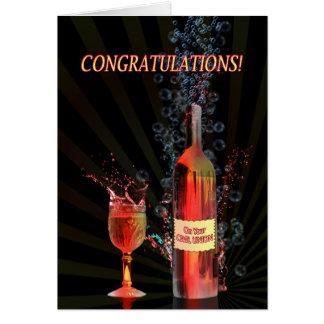 Cartão Parabéns na união civil com espirro do vinho