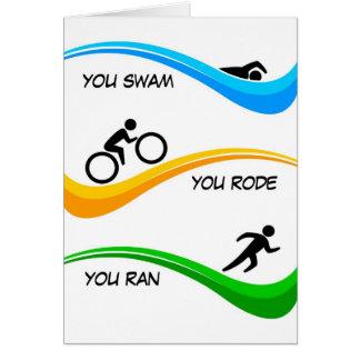 Cartão Parabéns para terminar um Triathlon!