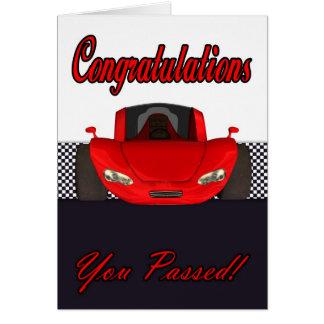 Cartão Parabéns passados teste de condução