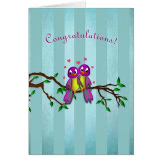 Cartão Parabéns! - Pássaros do amor