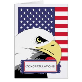 Cartão Parabéns patrióticos, Eagle e bandeira americana