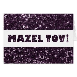Cartão Parabéns roxos de Mazel Tov do brilho da ameixa