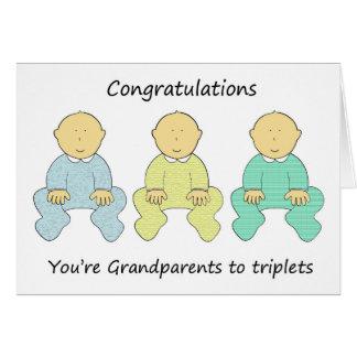 Cartão Parabéns, você é avós às objectivas triplas