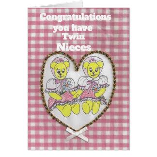 Cartão Parabéns você tem sobrinha gêmeas