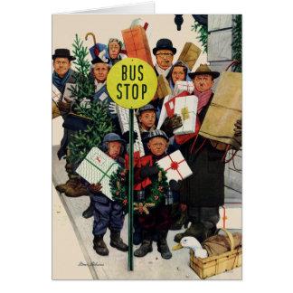 Cartão Paragem do autocarro no Natal