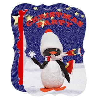 Cartão Paraíso adorável do Natal do ornamento do pinguim
