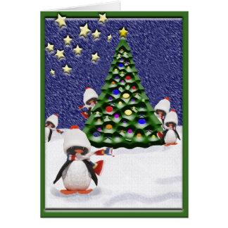 Cartão Paraíso do Natal do pinguim