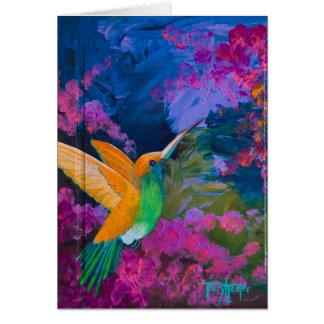 Cartão Paraíso dos Hummers do colibri