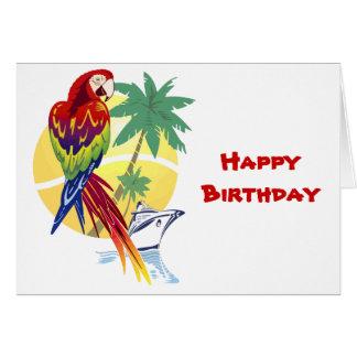 Cartão Paraíso tropical com Macaw e navio de cruzeiros
