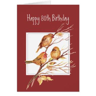 Cartão Pardais de canção felizes bonitos do aniversário