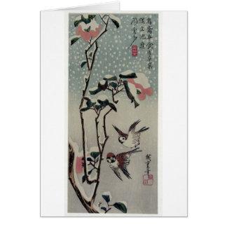 Cartão Pardais e camélias na neve. Japão