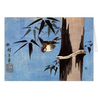 Cartão Pardal e bambu, Ando Hiroshige