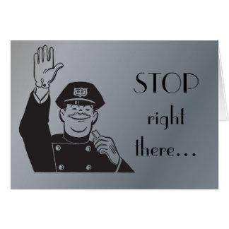 Cartão Pare o aniversário feliz Clipart retro da polícia