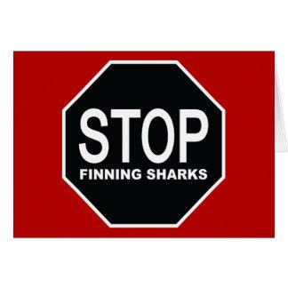 Cartão Pare o sinal dos tubarões de Finning