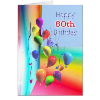 Cartão Parede feliz do balão do aniversário do 80