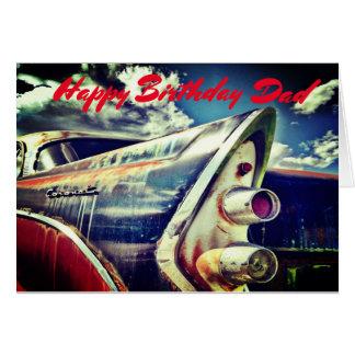 Cartão Parente masculino, aniversário. Carro do vintage