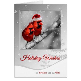 Cartão Pares cardinais vermelhos do irmão e da esposa