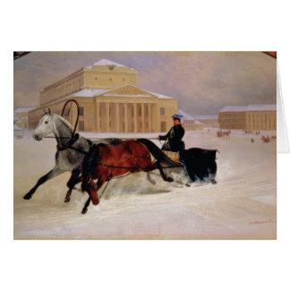 Cartão Pares de Pólo com um cavalo do traço em Bolshoi