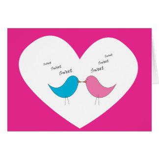 Cartão Pares muito doces de pássaros: rosa e azul