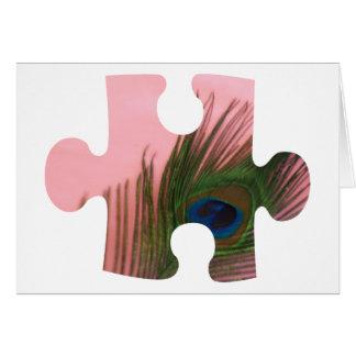 Cartão Parte cor-de-rosa do quebra-cabeça da pena do