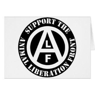 Cartão Parte dianteira de libertação animal do apoio do