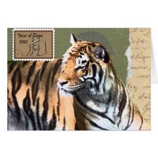 Cartão Parte superior dos TIGRES 10 Lista-Anos do tigre