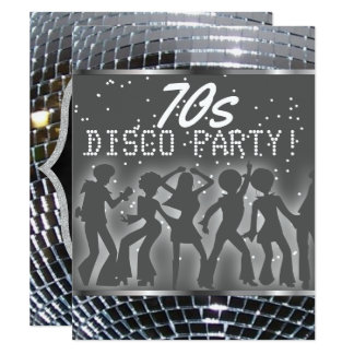 Cartão Partido 70s retro de prata do dance party | da