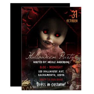Cartão Partido assombrado assustador da boneca do Dia das