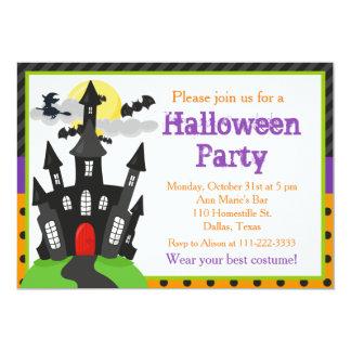 Cartão Partido assombrado do Dia das Bruxas da casa