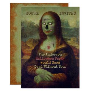 Cartão Partido assustador assustador de Mona Lisa do