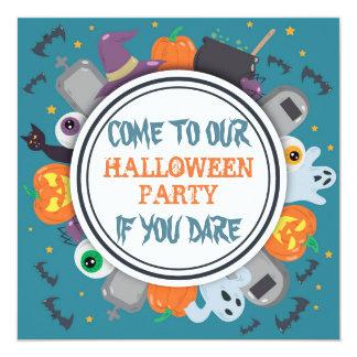 Cartão Partido assustador do Dia das Bruxas do quadro