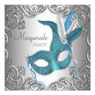 Cartão Partido azul do mascarada da cerceta de prata