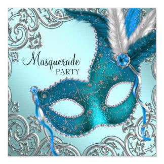Cartão Partido azul e de prata da cerceta da máscara do